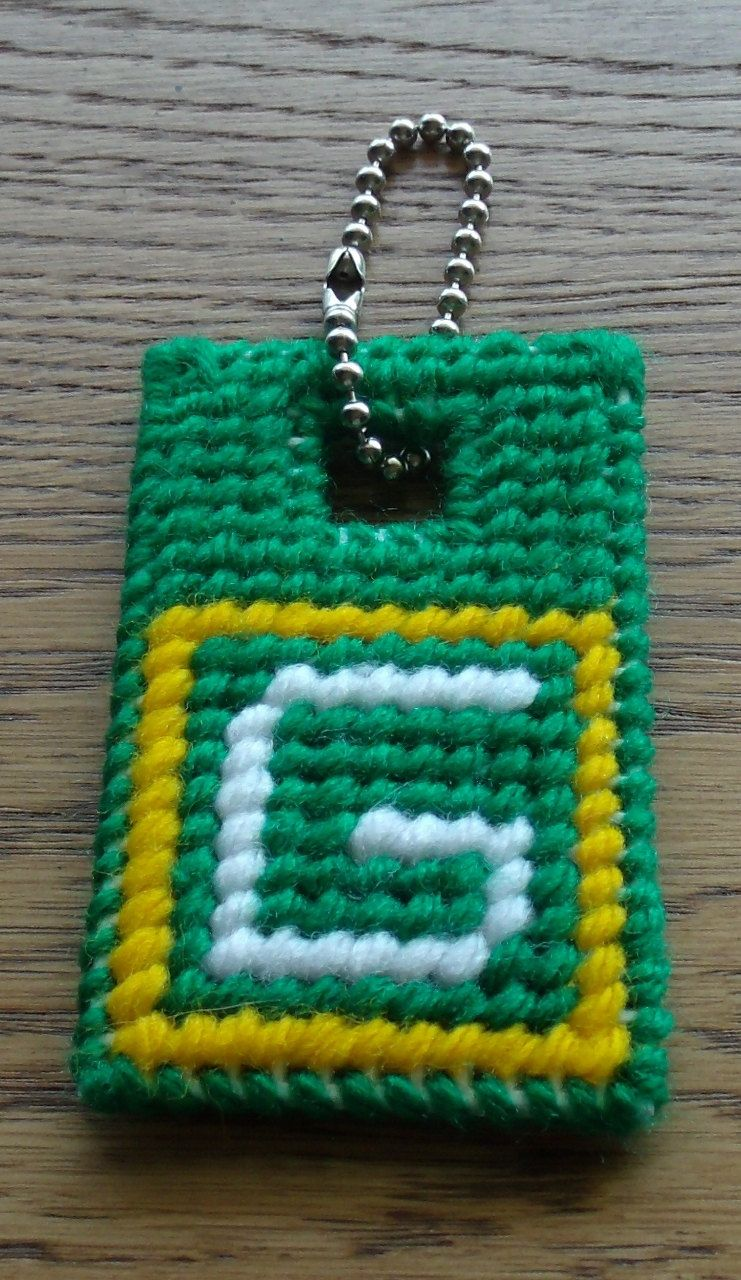 Green Bay Packers Key Chain Plastic Canvas By