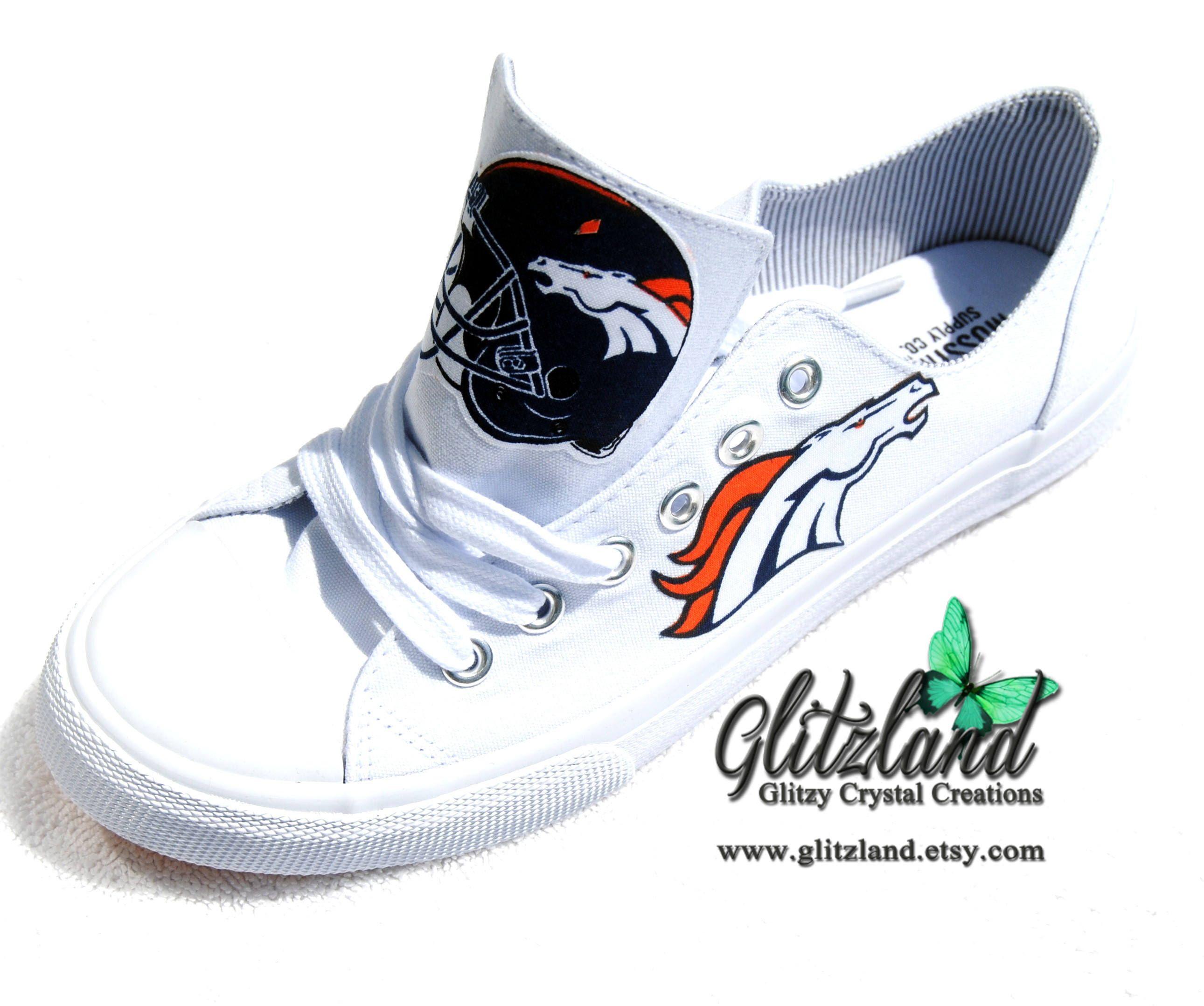 585d55f1d73198 Denver Broncos White Low Top Fashion Tennis Shoes by Glitzland on Etsy  https