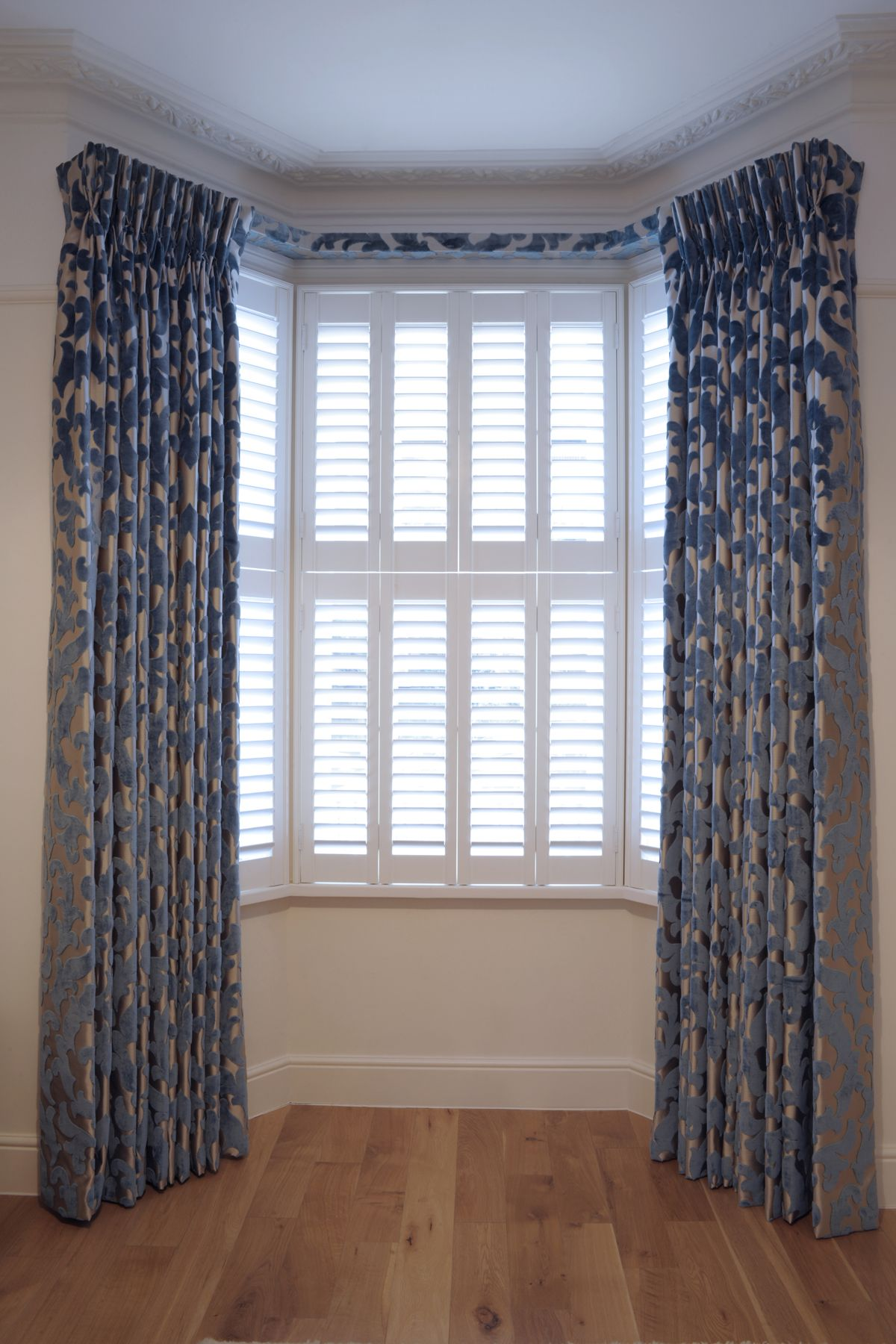Bespoke Triple Curtains With A Covered Lathe Fascia Integral