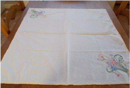 Vintage Hand Embroiderd Flowers Flour Sack Table Cloth