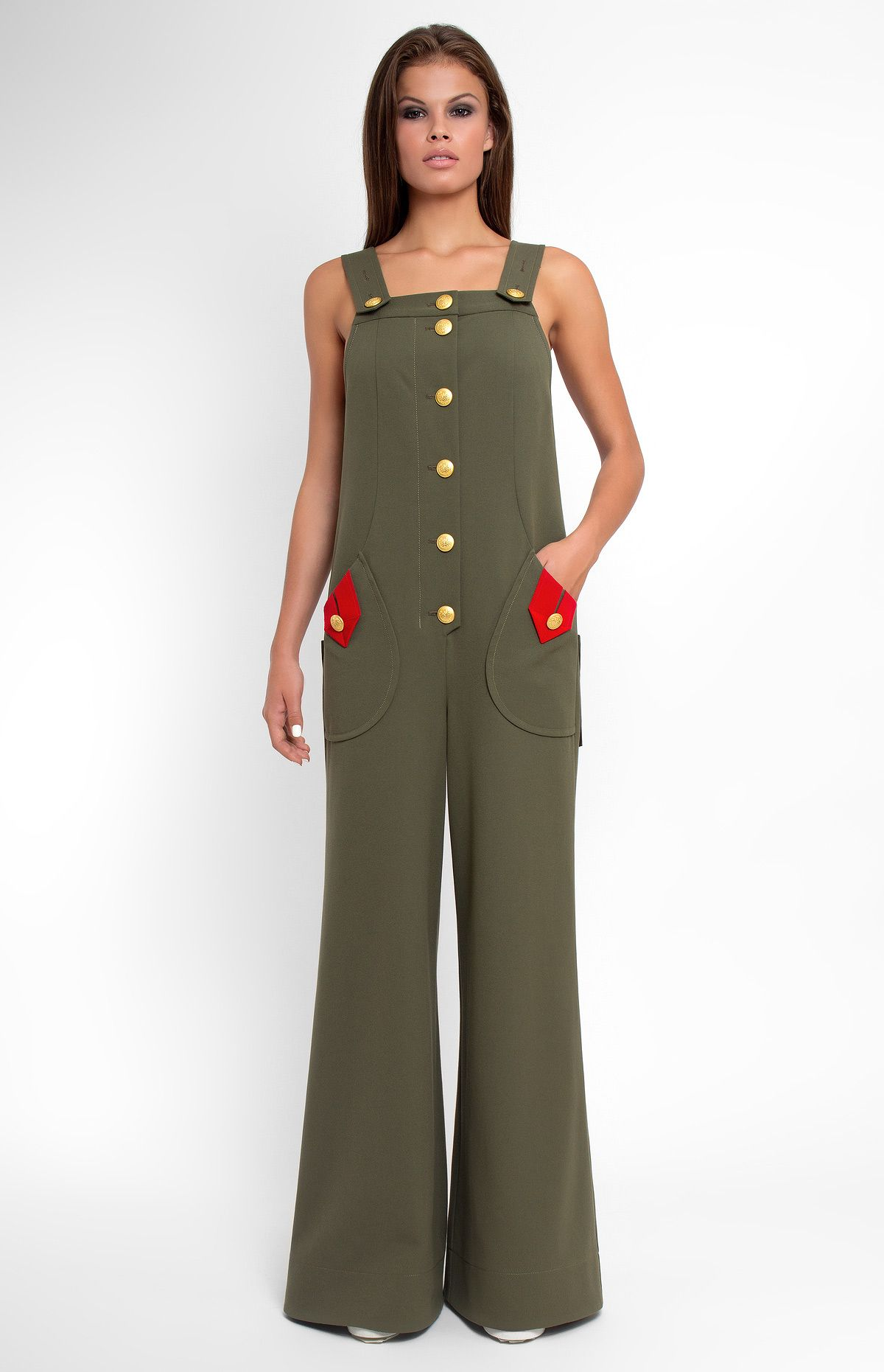 61e20e66e28f Sleeveless military style stretchy cotton overall. Button down closure.  Front and back patch pockets. Bow with a designer handmade rose. Unlined.