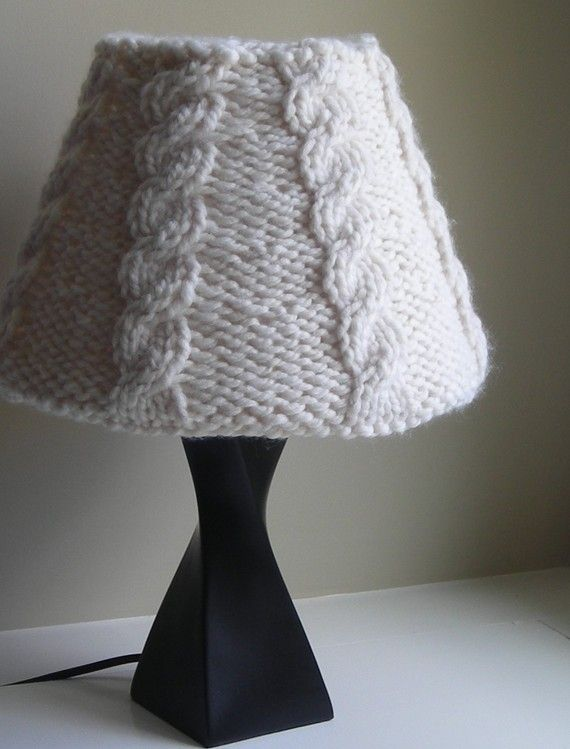 L&shade cover Knitting Pattern PDF Download - Knitted Cabled L&shade Covers for Shades in two sizes - lighting - l&shade cozy & Lampshade cover Knitting Pattern PDF Download - Knitted Cabled ...