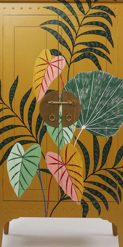 Iro Hand-Painted Mustard Yellow Mahogany Wood Armo
