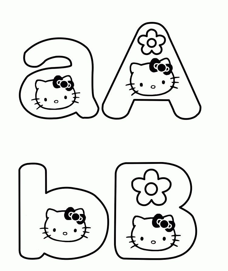 Hello Kitty Abc Coloring Pages Gambar