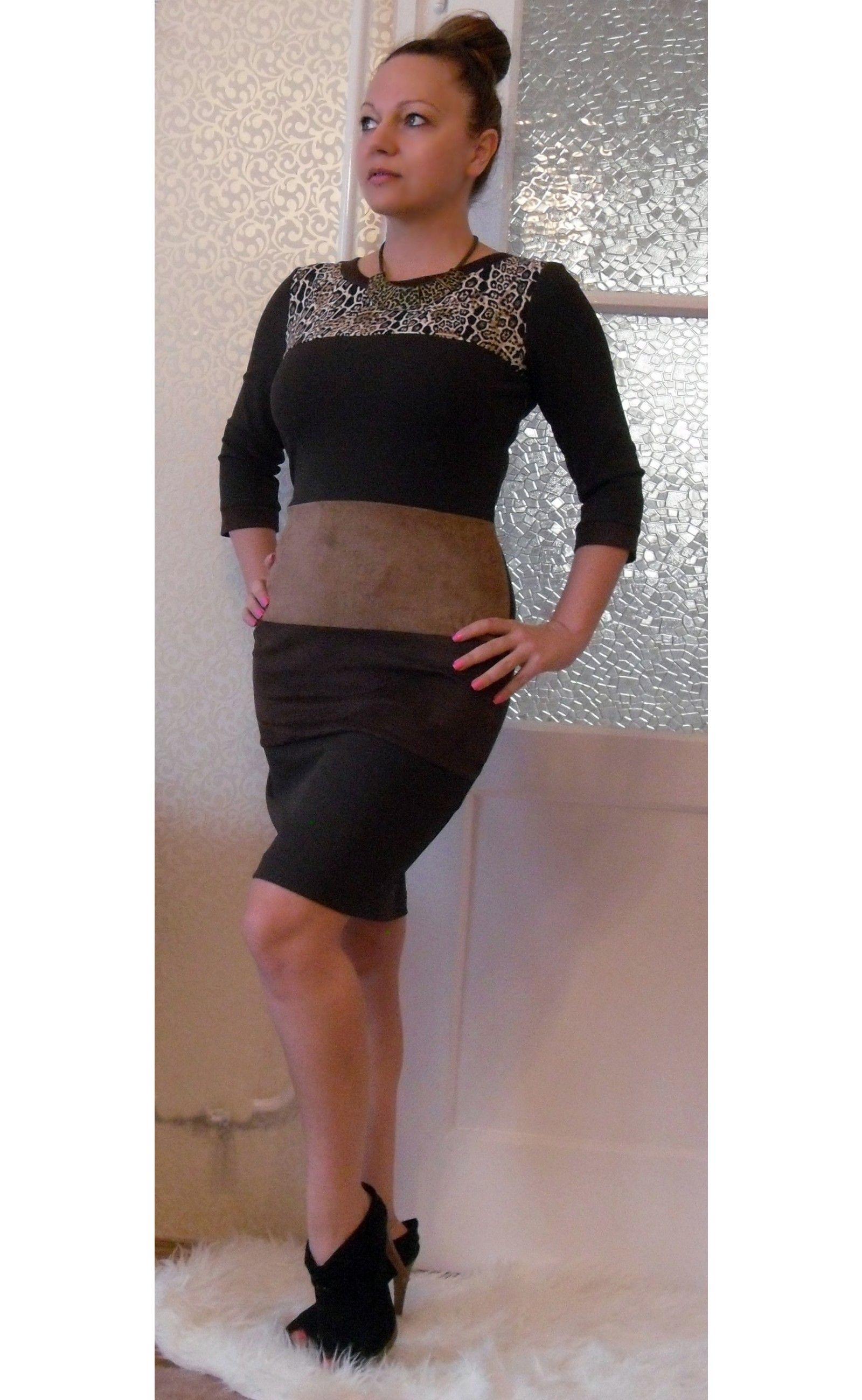 a04334f59e Barna alkalmi ruha párduc betéttel - Akciós ruhák - Női Ruha Webáruház,  Alkalmi ruha webshop tunika, Felső
