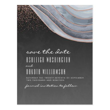 Savethedate Postcards Modern Chalkboard Rose Gold Agate Save