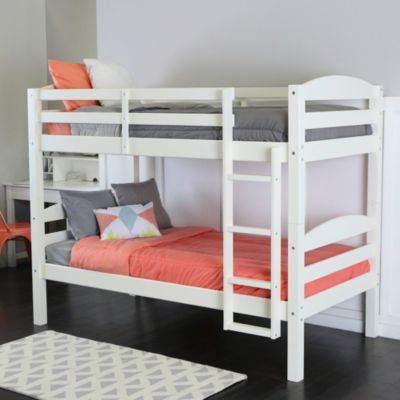 Solid Wood Twin Over Twin Bunk Bed White White In 2019