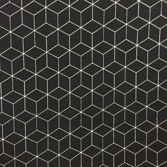 100/% Cotton Fabric Geometric Dressmaking Quilting Black Mono Marguerite