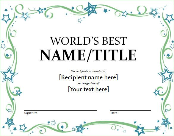 World Best Award Certificate Template , Finding Proper Gift - certificate template word