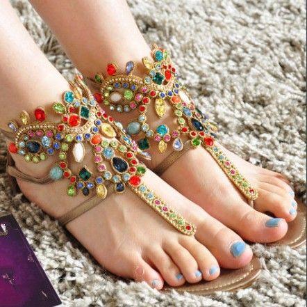 Colorful Beaded Sandals  d222baf1aad0