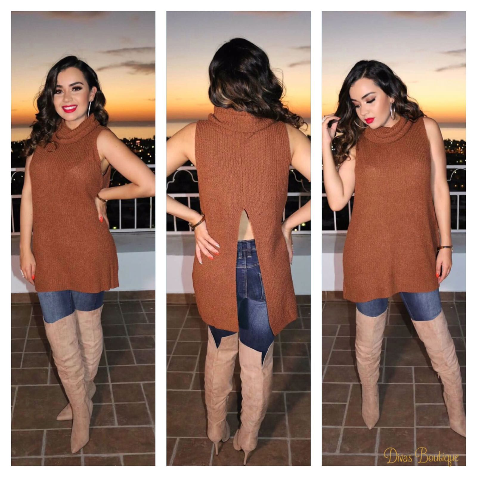 Lola Sleeveless Sweater Rust