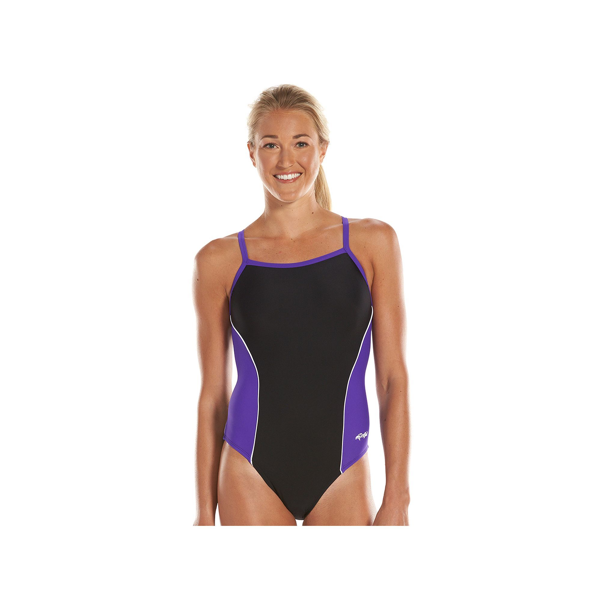 Women's Dolfin Team Colorblock V-2 Back Competitive One-Piece Swimsuit,  Size: