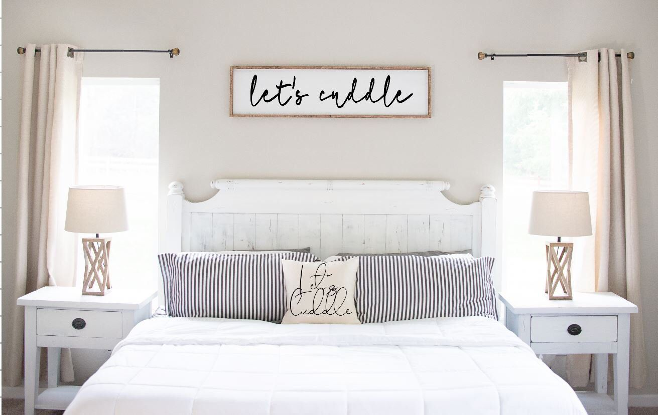 Let's Cuddle Wood Sign, Large Quote Sign, Farmhouse Quote
