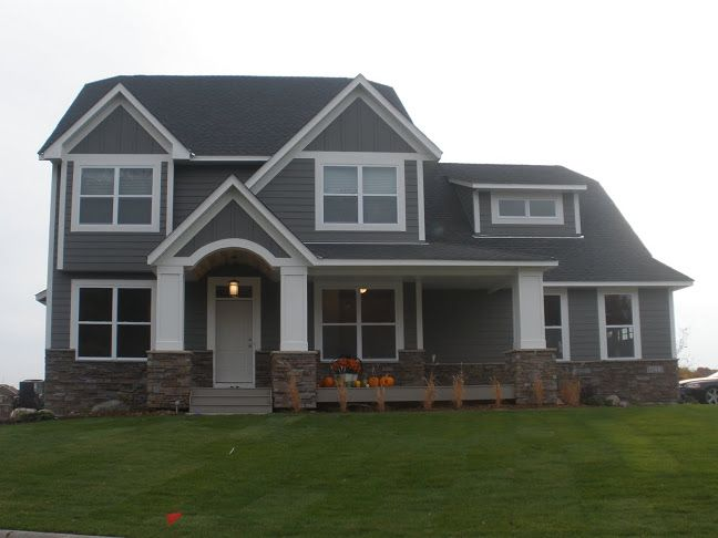 Like The Gray Siding With Thick White Trim Placement Of The Stone But Not That Stone House Exterior Exterior House Colors Grey Siding