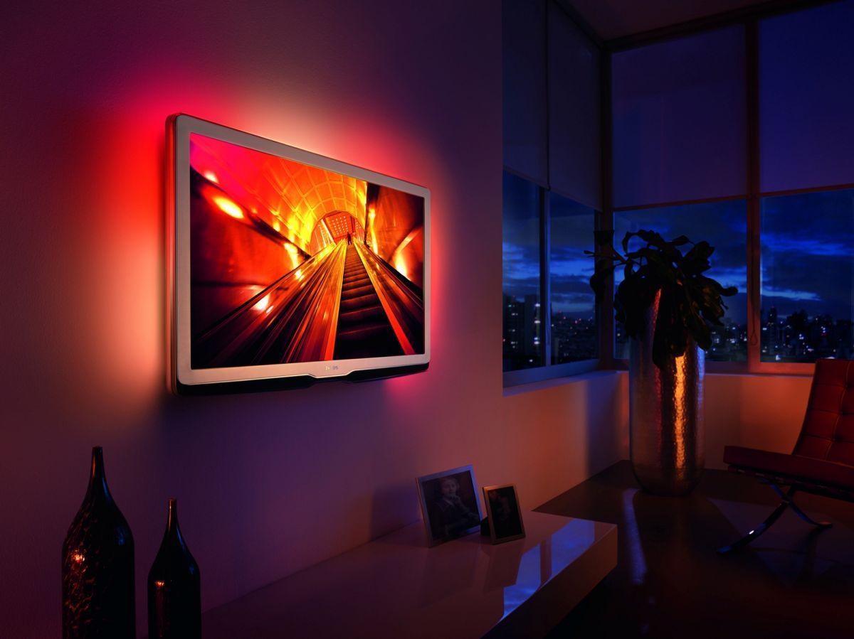 Philips Unveils Led Pro 9704 Tv Range Led Strip Lighting Wall Mounted Tv Tv Wall