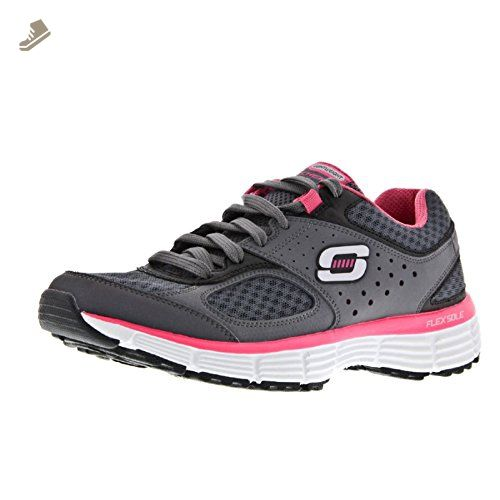 Skechers Agility Perfect Fit Womens Trainers (8 US) (Charcoal/Hot Pink)