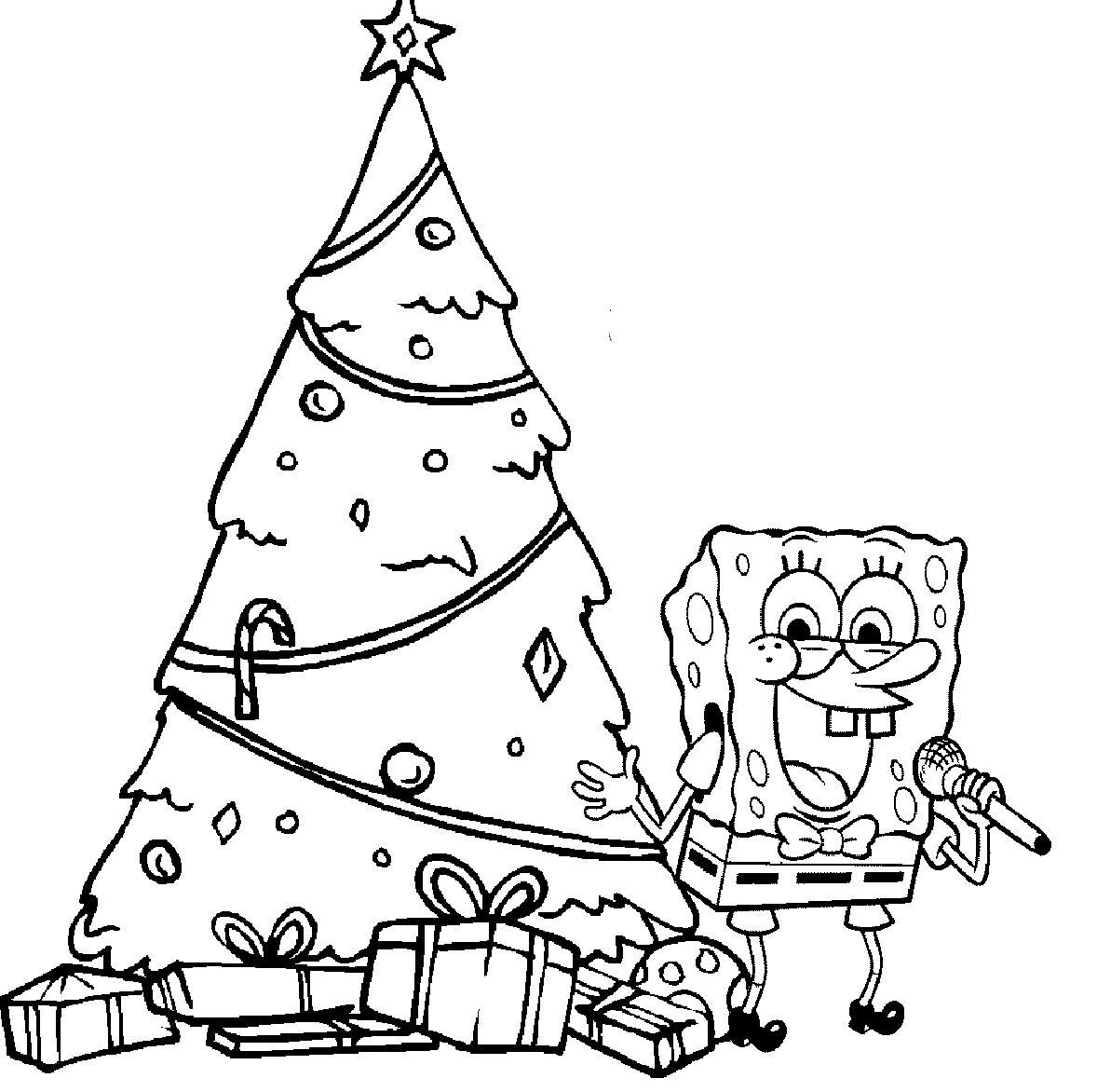 spongebob happy christmas coloring page  christmas tree