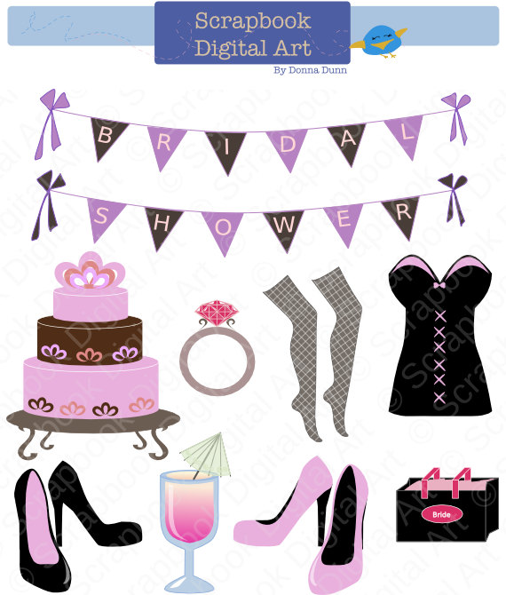 c238e1e3c Bridal Shower Clip Art. Bachelorette Party Clip Art. Despedida de soltera.  Brude dusj. Decoraciones
