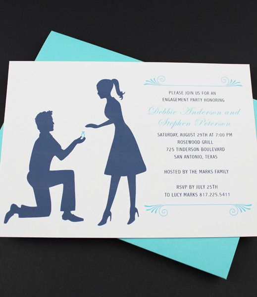 Engagement Party Invitation Template Silhouette Couple Party - engagement invite templates