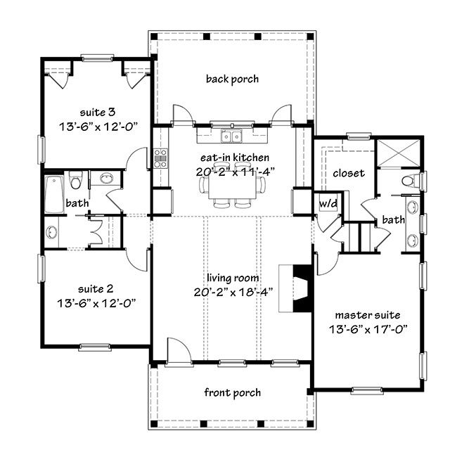 Sl 1955 F1 Southern Living House Plans Cottage Floor Plans Small House Plans