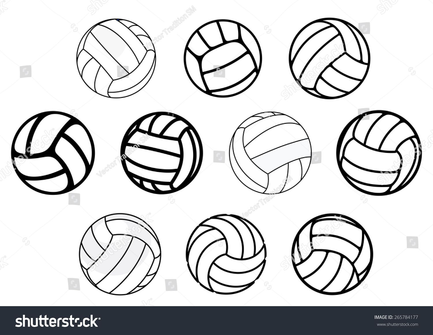 Outline And Cartoon Leather Volleyball Balls In Blue White And Gray Colors Isolated On White Background For Sporting Business Card Black Stock Images Leather