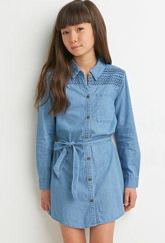 Girls embroidered chambray shirt dress kids forever 21 for Chambray shirt for kids