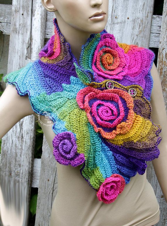 Crochet Scarf Roses Ranbow Unique Capelet textured Freeform crochet ...