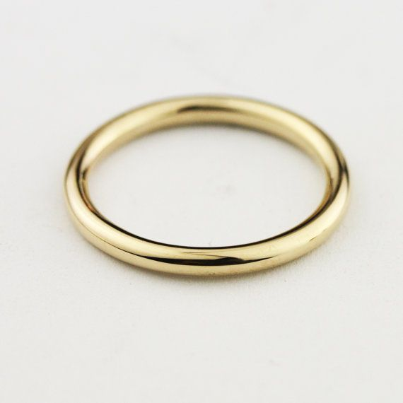 1ea6593eb1249 Solid 14k / 18k/ 22k / 24k Gold 2mm Full Round Wedding Band ...