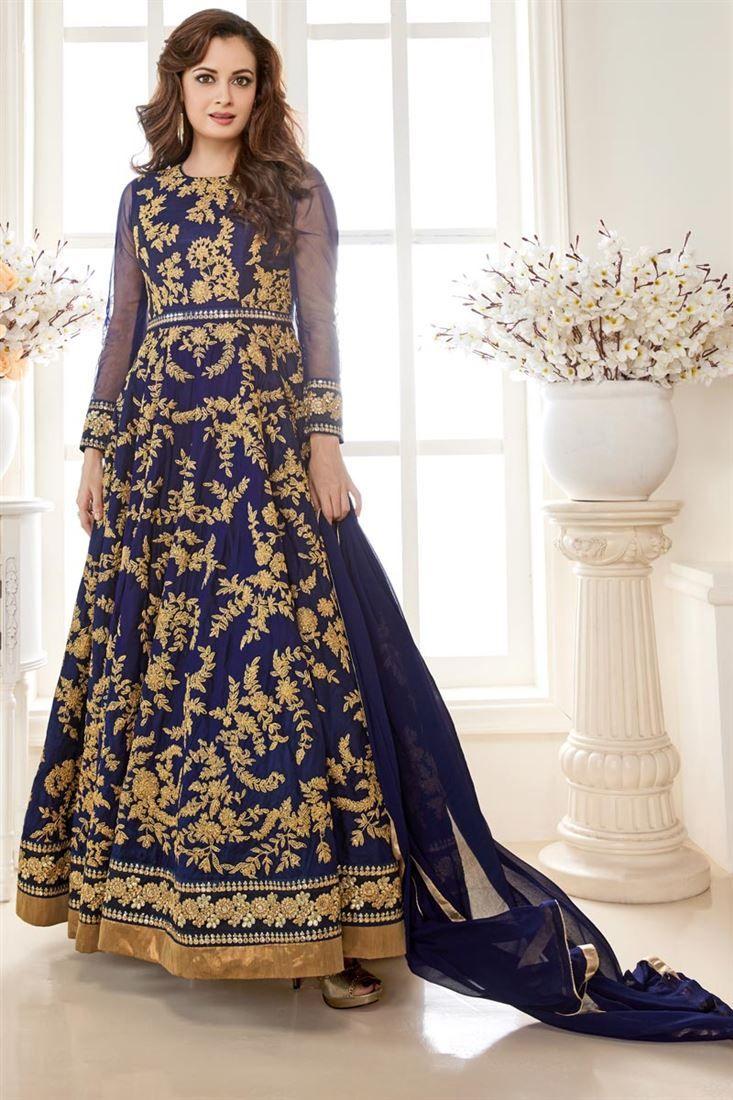 3f7c6483500 Beautiful Dia Mirza Featuring Blue Color Long Length Anarkali Salwar Suit