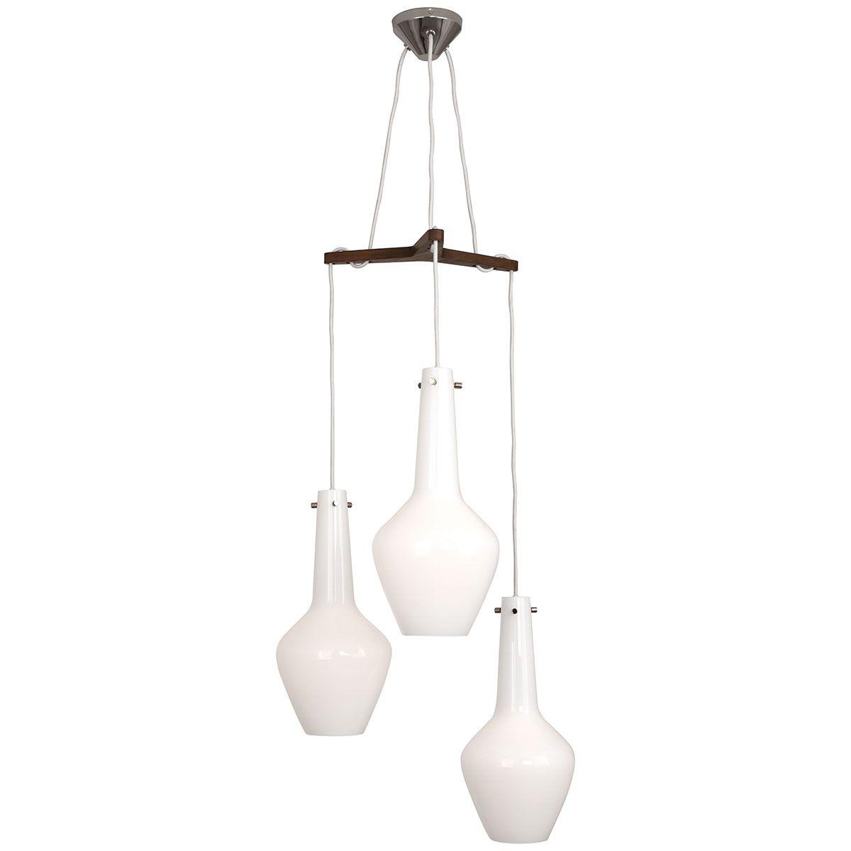 Robert Abbey Jonathan Adler Capri White Cased Glass 3 Light Pendant Wh739