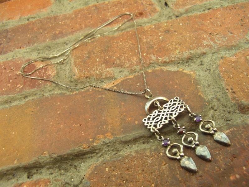 Vintage Multi Gemstone Woman Chandelier Sterling 925 Pendant Necklace 16g 24in | eBay