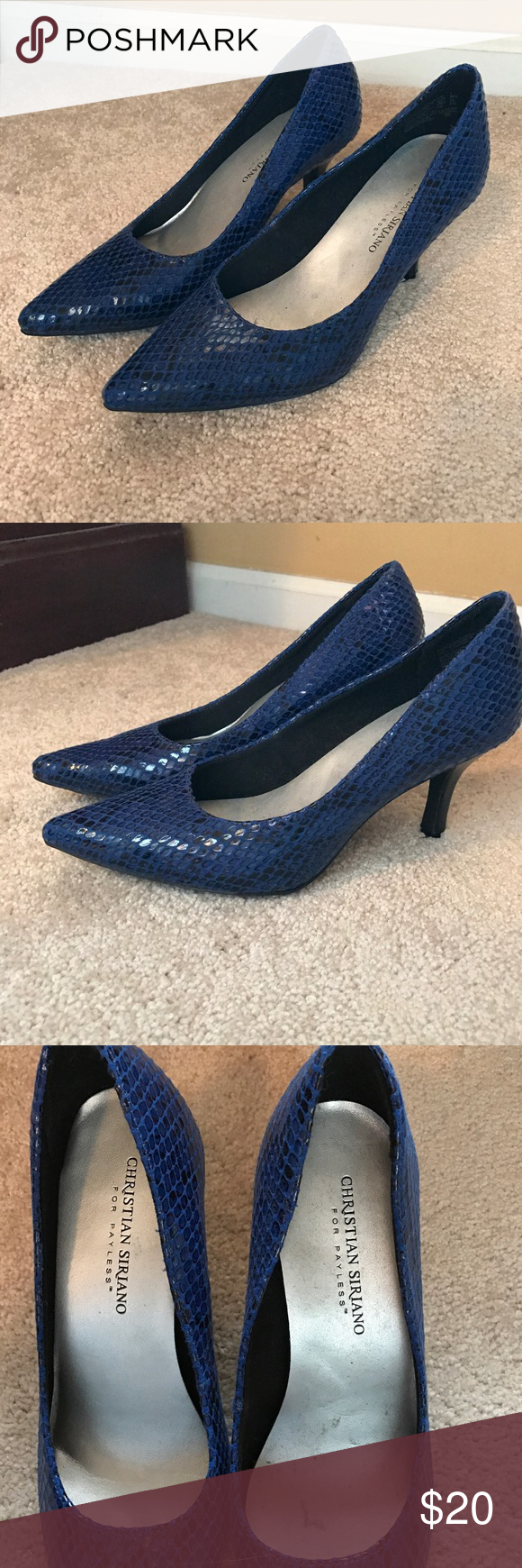 💙Blue Snake Skin Heels Good condition blue snake skin heels. Heels are about 2 inches. Brand is Christian Siriano. Christian Siriano Shoes Heels