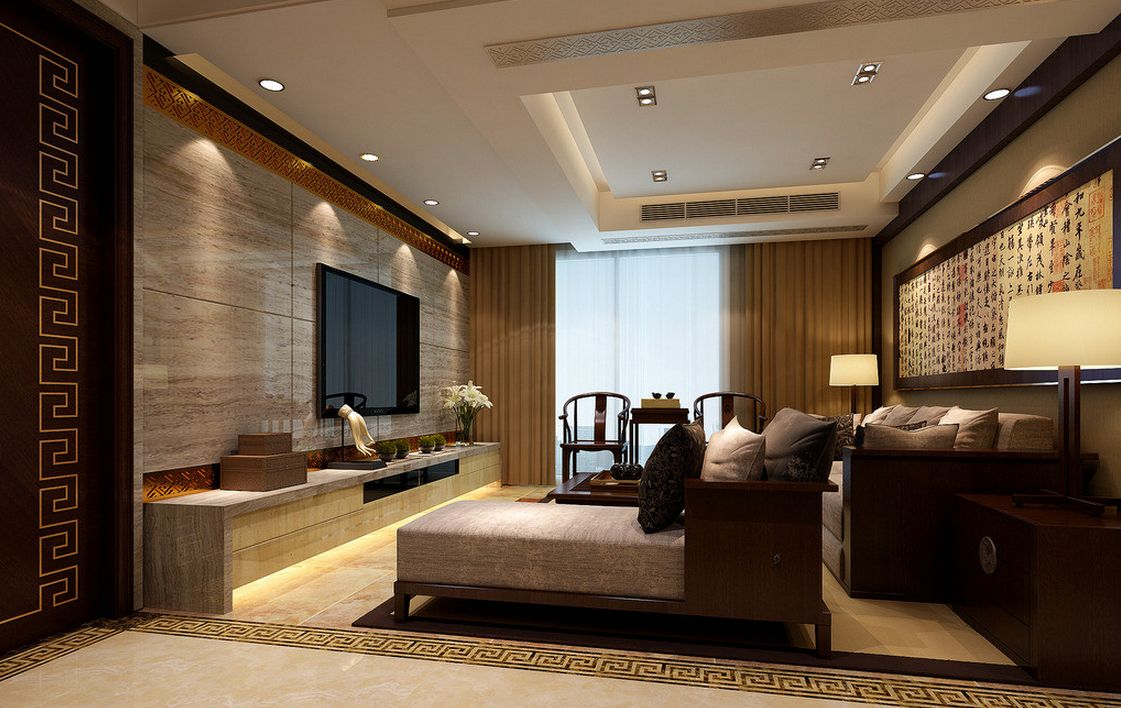 Interior Design Of High End Chinese Living Room.