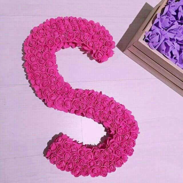 Pin By Sm Yamℓzh 1920 Sm On احلى الحروف Diy Pom Pom Flowers Bouquet Initials