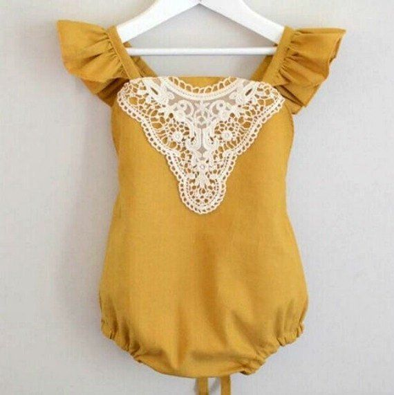 e97e8c2ca3c6 Mustard Yellow Vintage Lace Romper Baby and Toddler Girl s