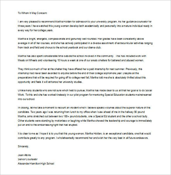 Free Letter Of Recommendation Template from i.pinimg.com