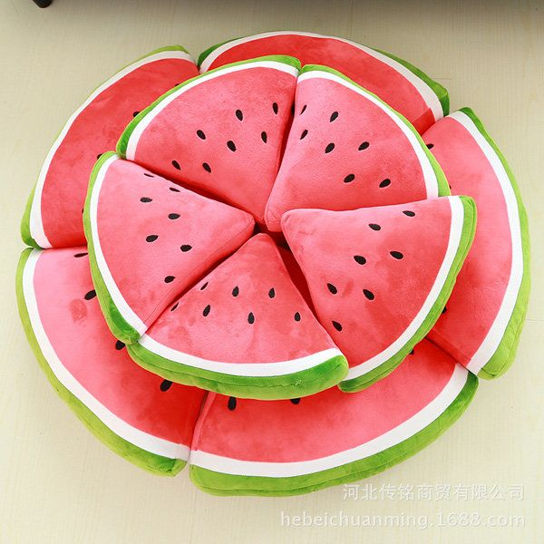 Creative Fruit Watermelon Triangle Semicircle Round Throw Pillow Plush Sofa Car ...
