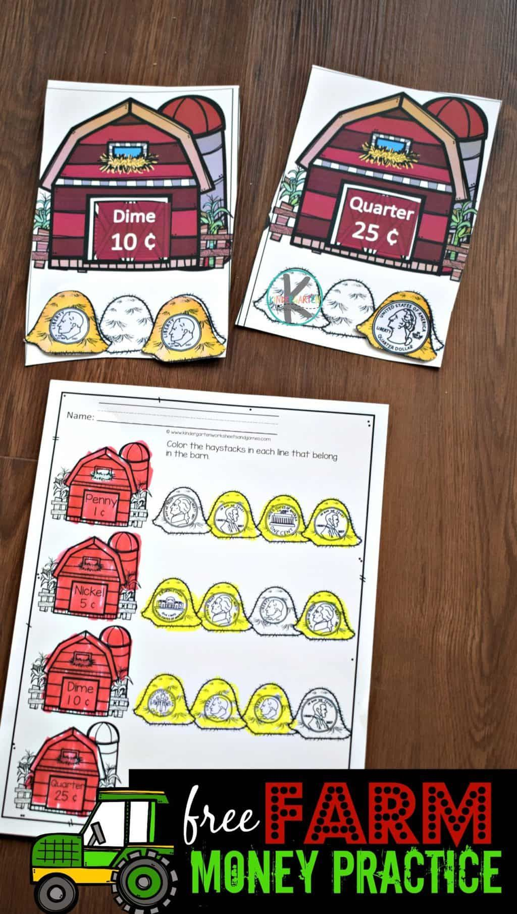 Predownload: Free Farm Money Practice Such A Fun Hands On Activity To Help Kids Learn Kindergarten Activities Kindergarten Money Activities Kindergarten Money Worksheets [ 1812 x 1024 Pixel ]