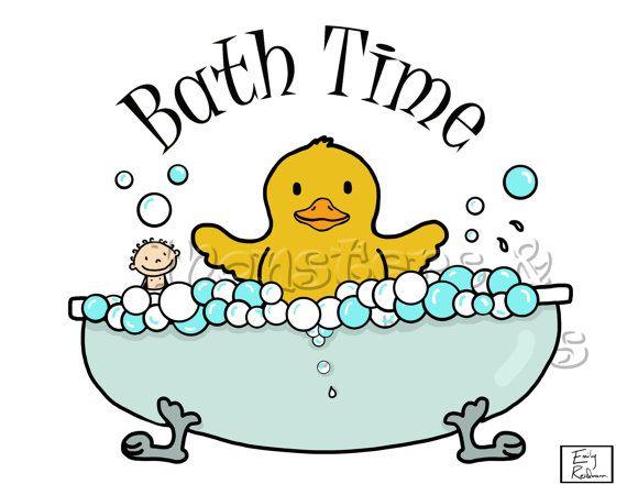 Bath Time Rubber Ducky Wall Art Print by monstersandlollipops ...