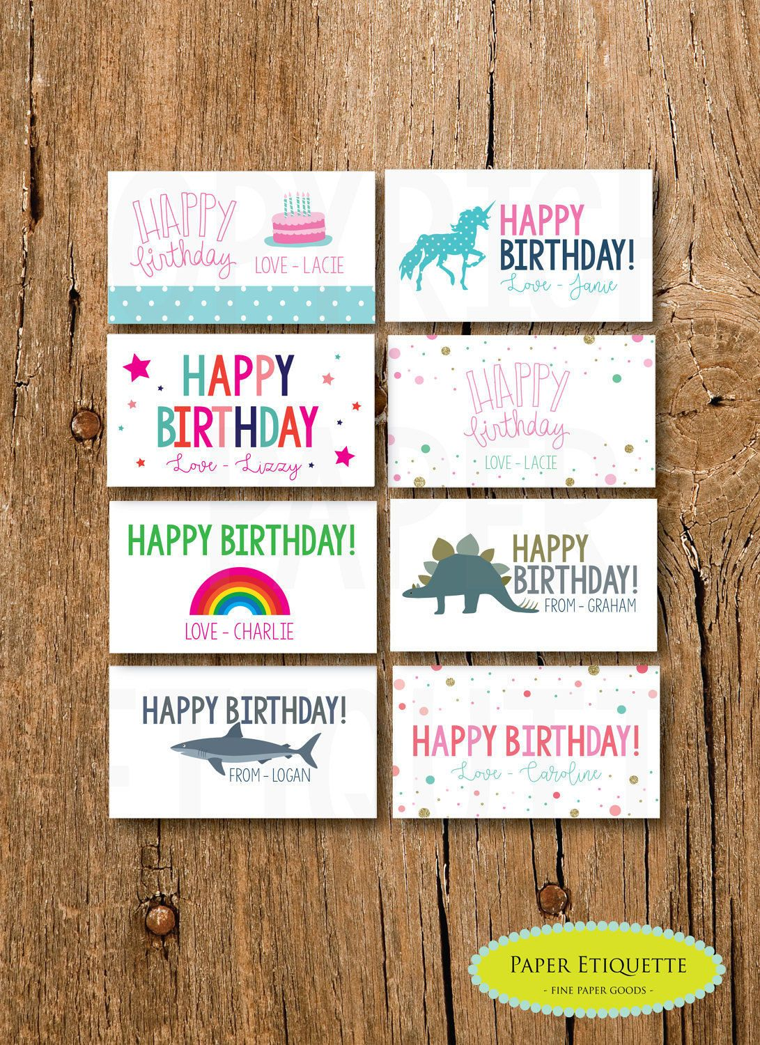 Personalized Gift Enclosure Card Mini Birthdaycards Personalized
