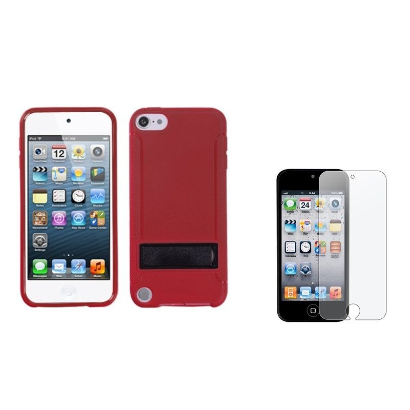 Insten Gummy iPod Case Cover/ Anti-glare Screen Protector for Apple iPod Touch 5th/ 6th, #1160894