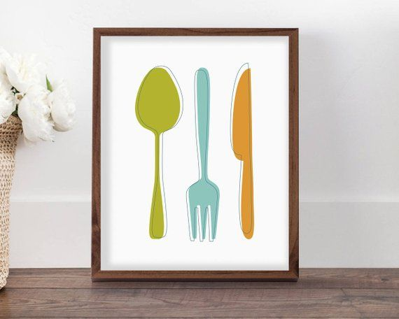 Kitchen Utensils Art Print Colorful Kitchen Decor Mid Century Kitchen Printable Wall Art