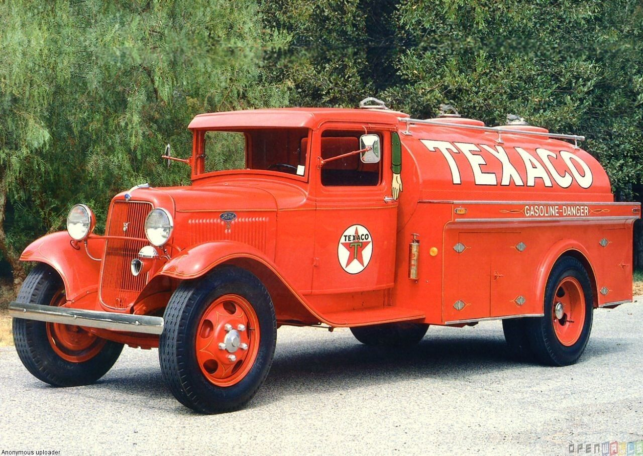 all red ford trucks   1934 ford model bb texaco tanker truck red fvl ...