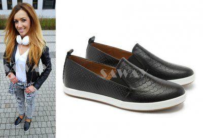 Saway Czarne Wezowe Trampki Slip On Wloska Skora 6099028867 Oficjalne Archiwum Allegro Slip On Sneaker Shoes Sneakers