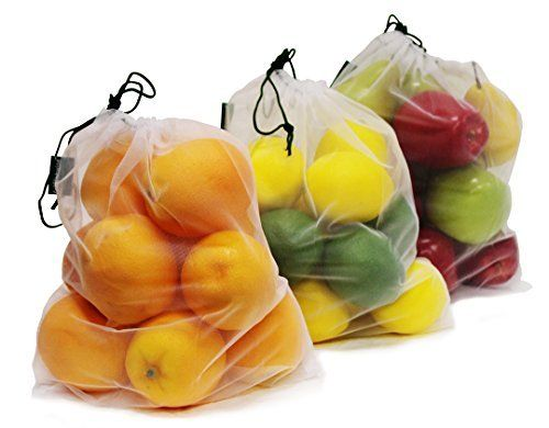 Earthwise Reusable Mesh Produce Bags Washable Set Of 9 Premium Bags Transparent Lightweight Strong See Thr Storing Fruit Produce Bags Reusable Produce Bags