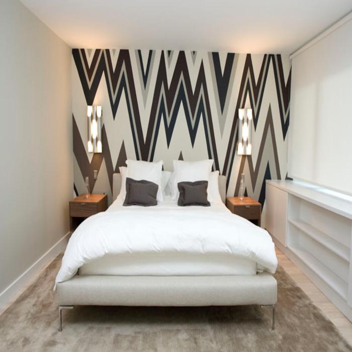 Tapete Muster Schlafzimmer Akzentwand Teppich