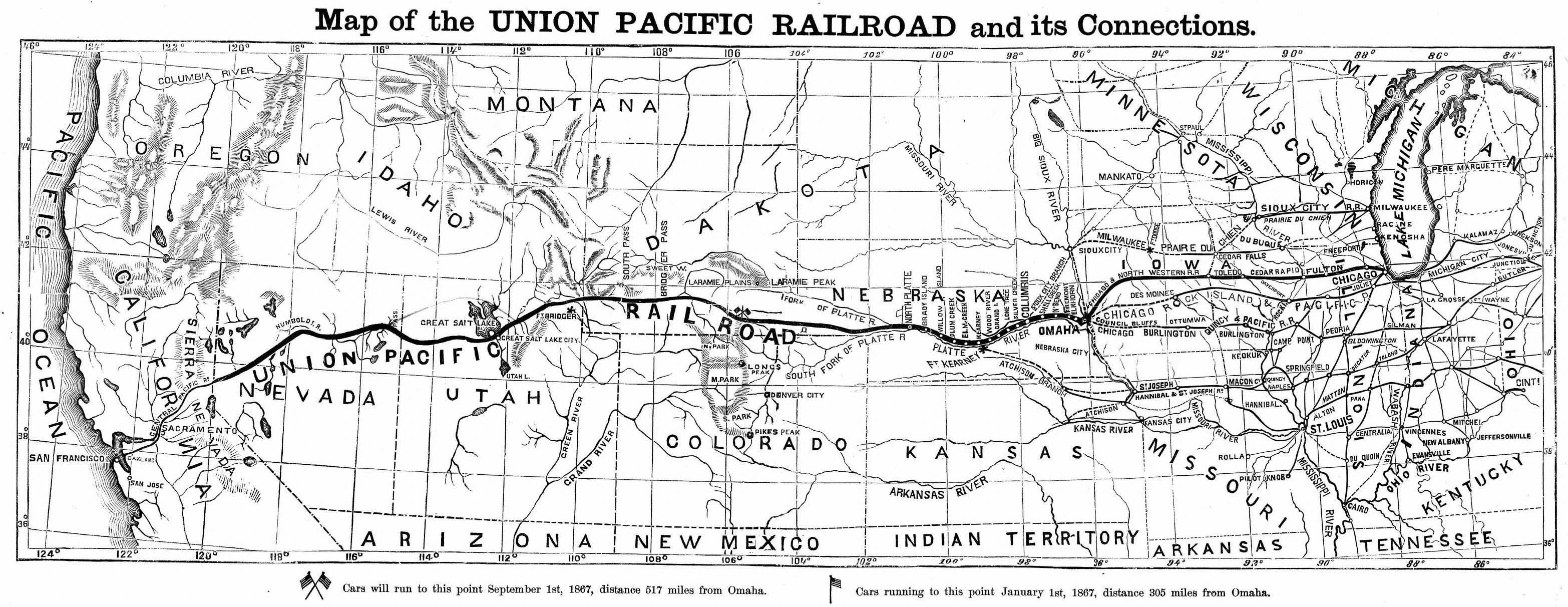 Map of the Union Pacific Railroad and Connections, circa 1867 ... Central Pacific Railroad Map on