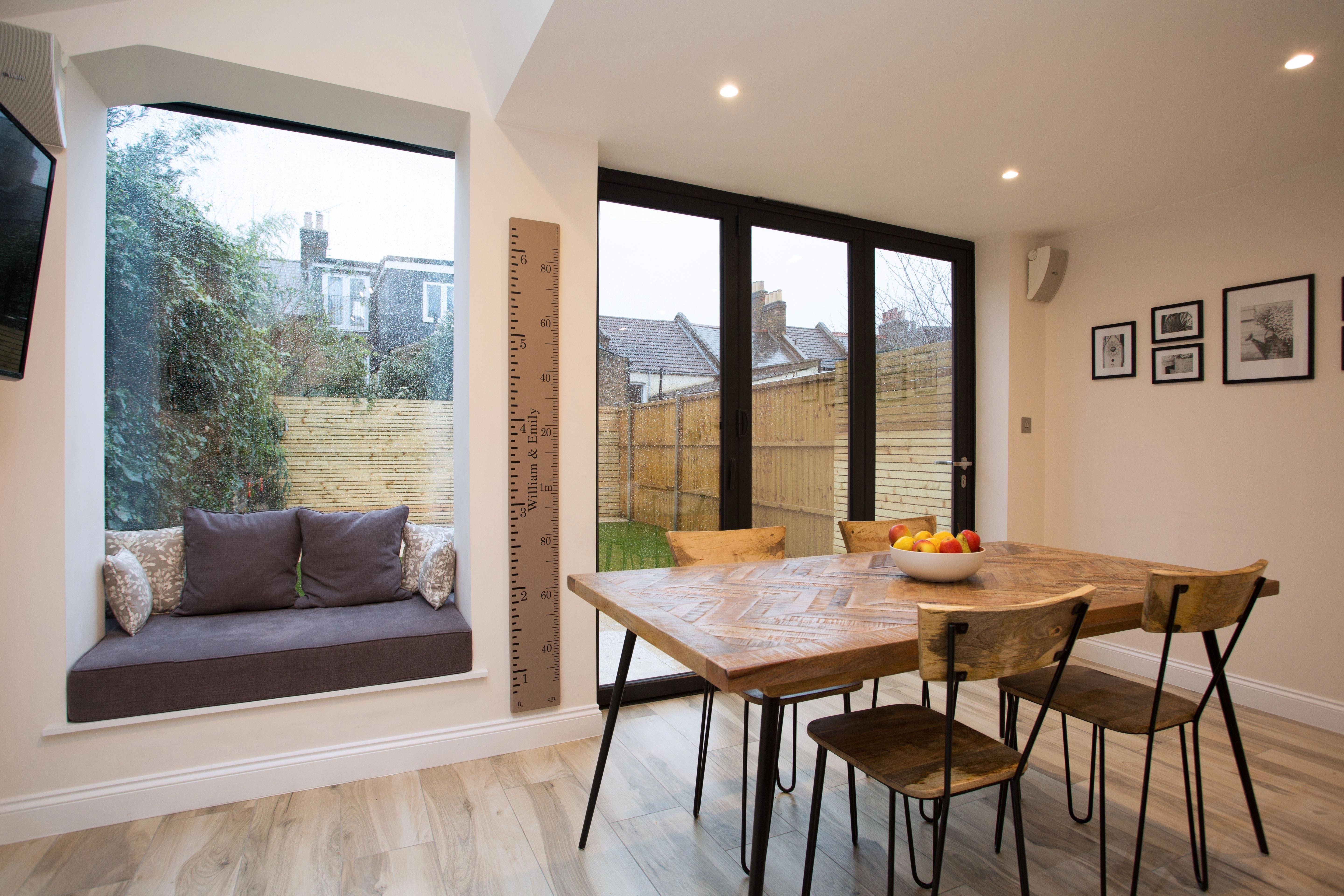 Nice Way Of Squeezing A Sofa Seating Area Into A Smaller Kitchen Diner Extension Kitchen Diner Extension Open Plan Kitchen Dining Open Plan Kitchen Living Room
