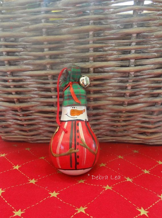 Hand Painted Christmas Snowman  Lightbulb Light by ImagineOutLoud