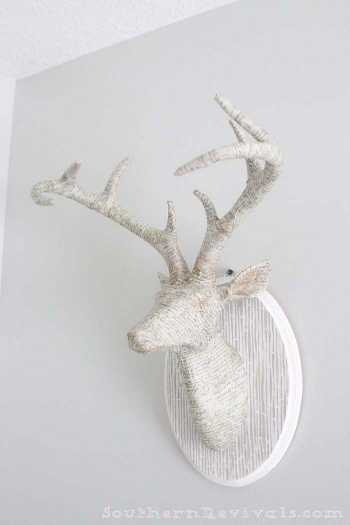 Diy Animal Head Wall Mount Paper Mache Wall Art Animal Head